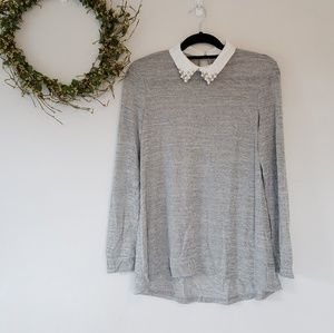 Grey faux beaded collared shirt